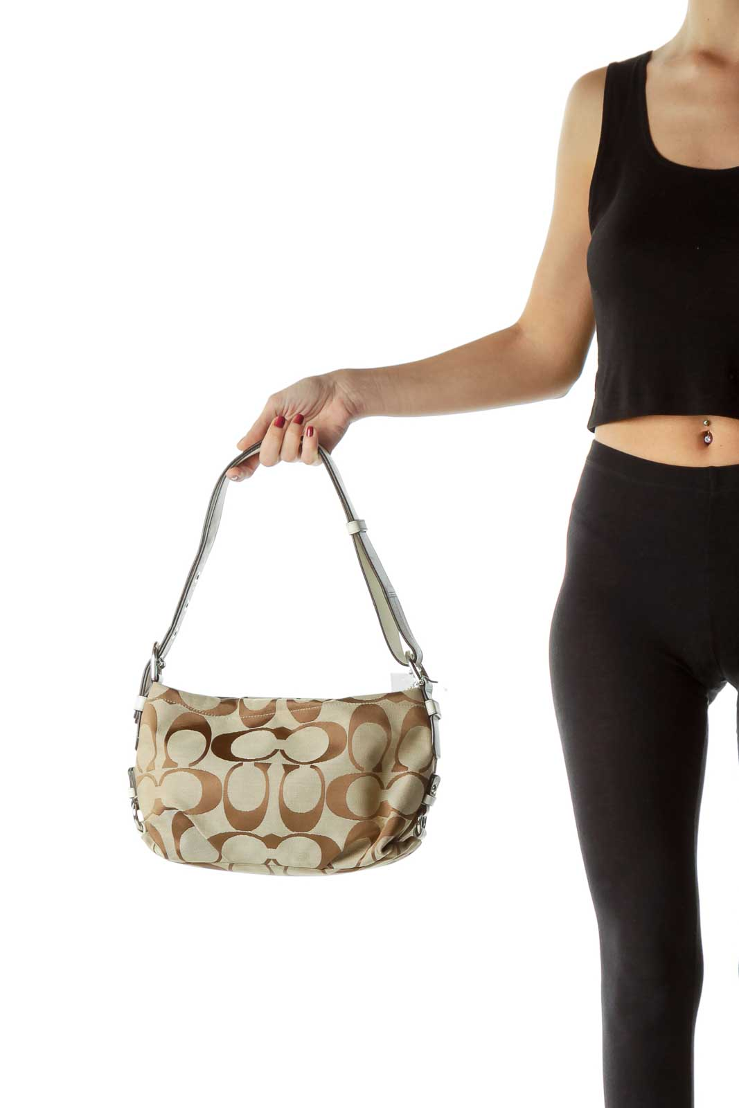 Beige White Leather Trim Monogrammed Shoulder Bag