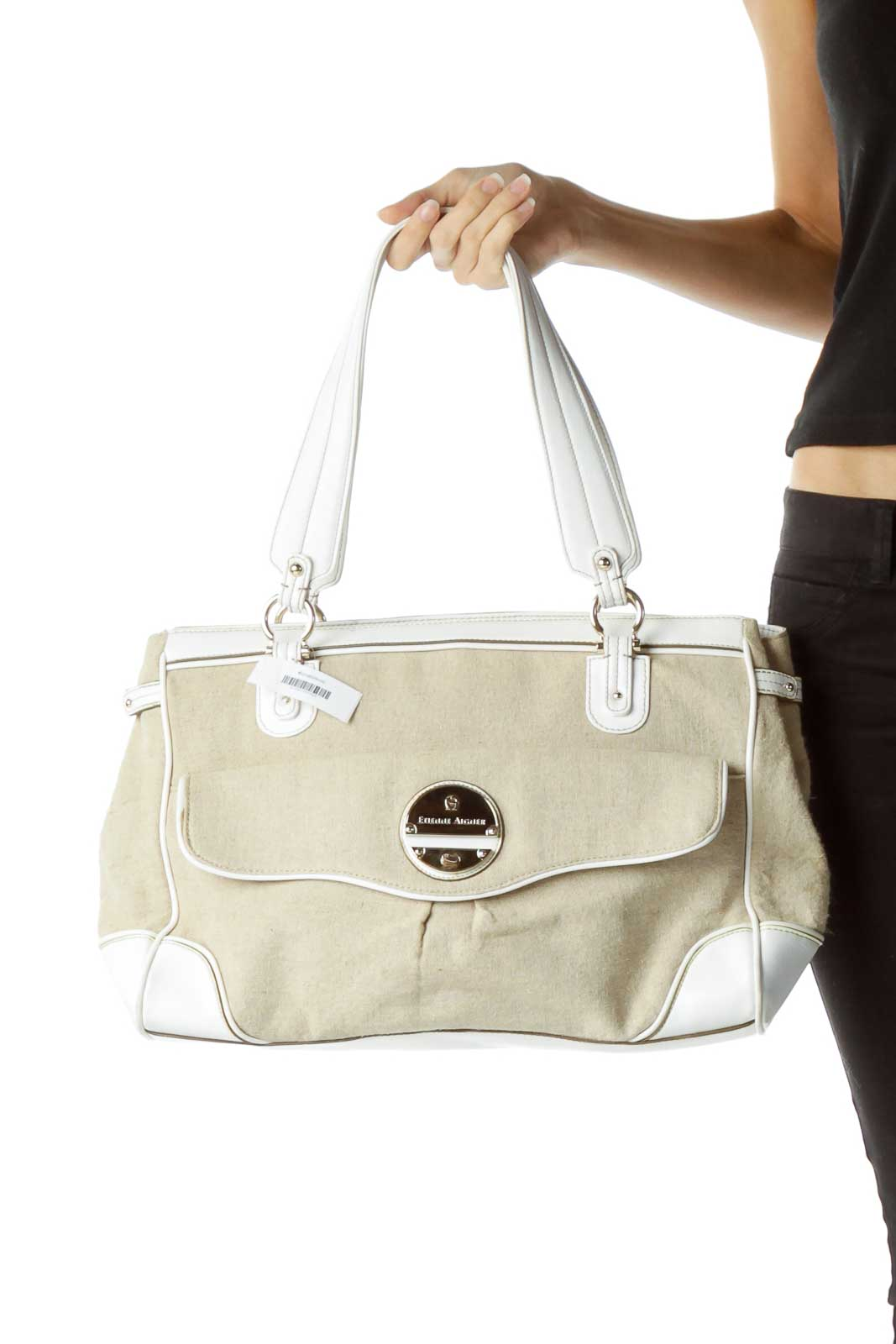Beige Linen White Leather Handle Tote