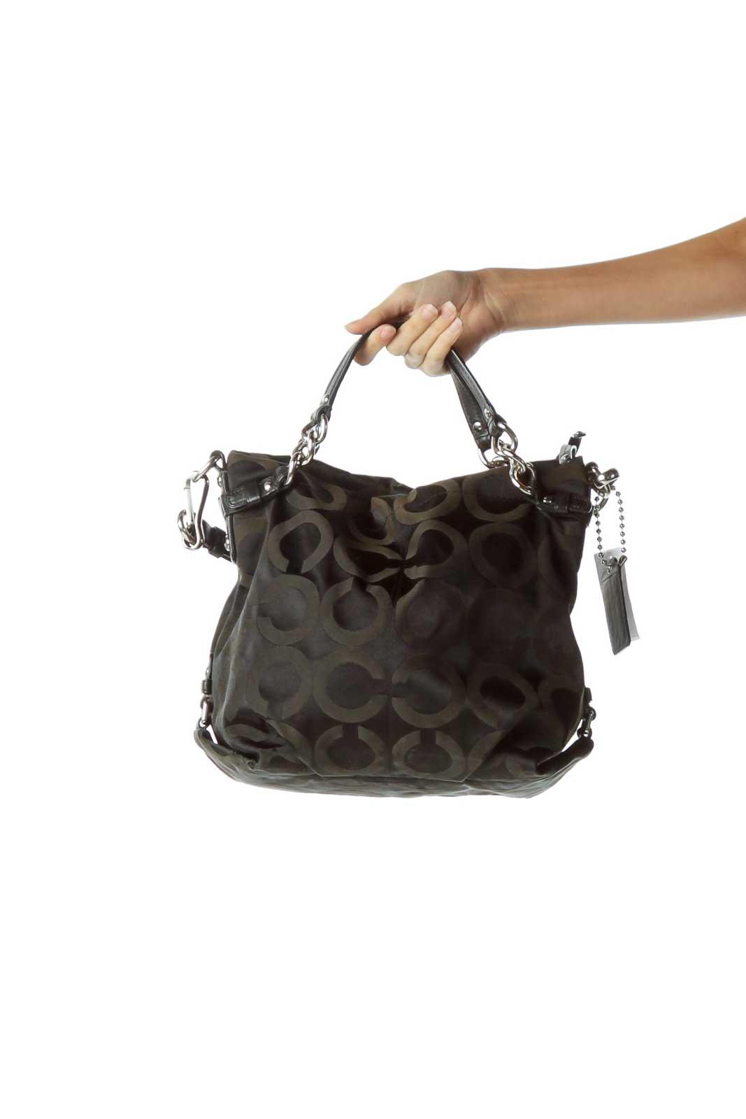 Black Circle Print Shoulder Bag