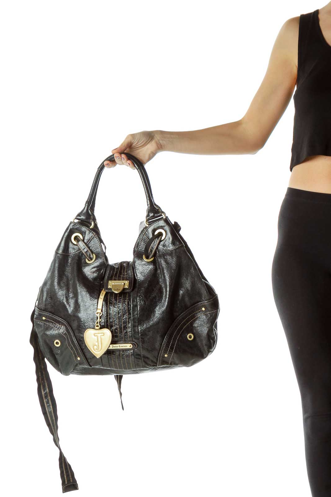 Black Patent Leather Shoulder Bag