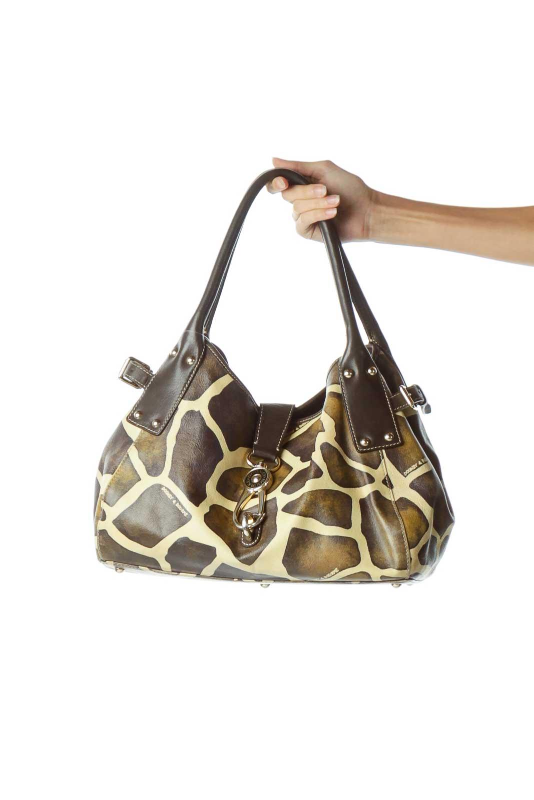 Brown Cream Print Shoulder Bag