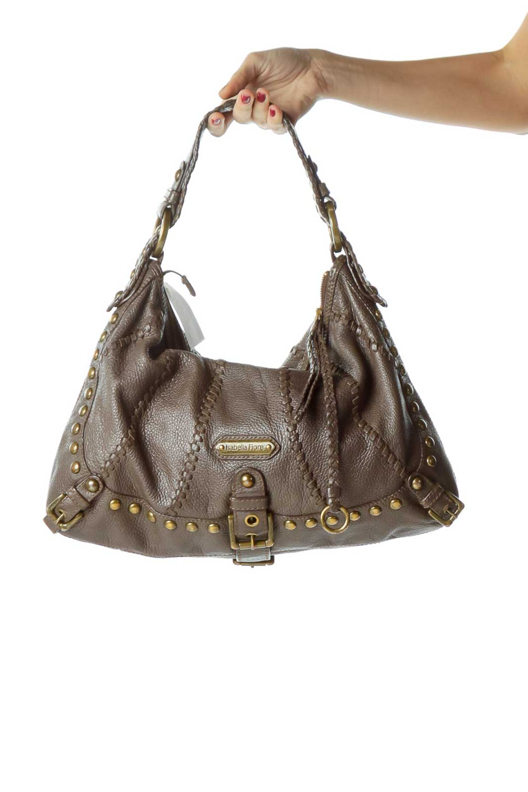 Purple Studded Woven Leather Bag