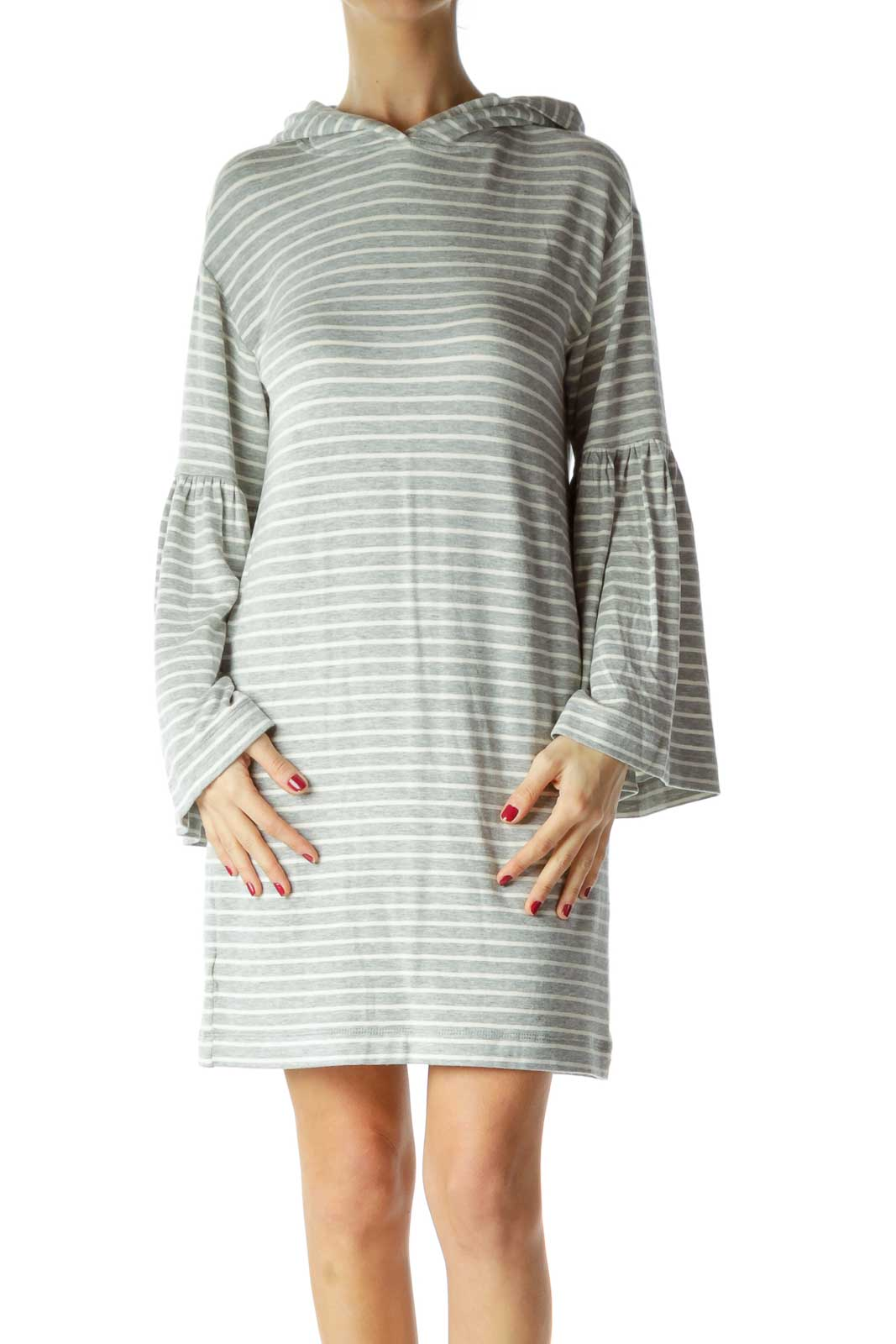 Gray White Striped Jersey-Knit Dress with Hood