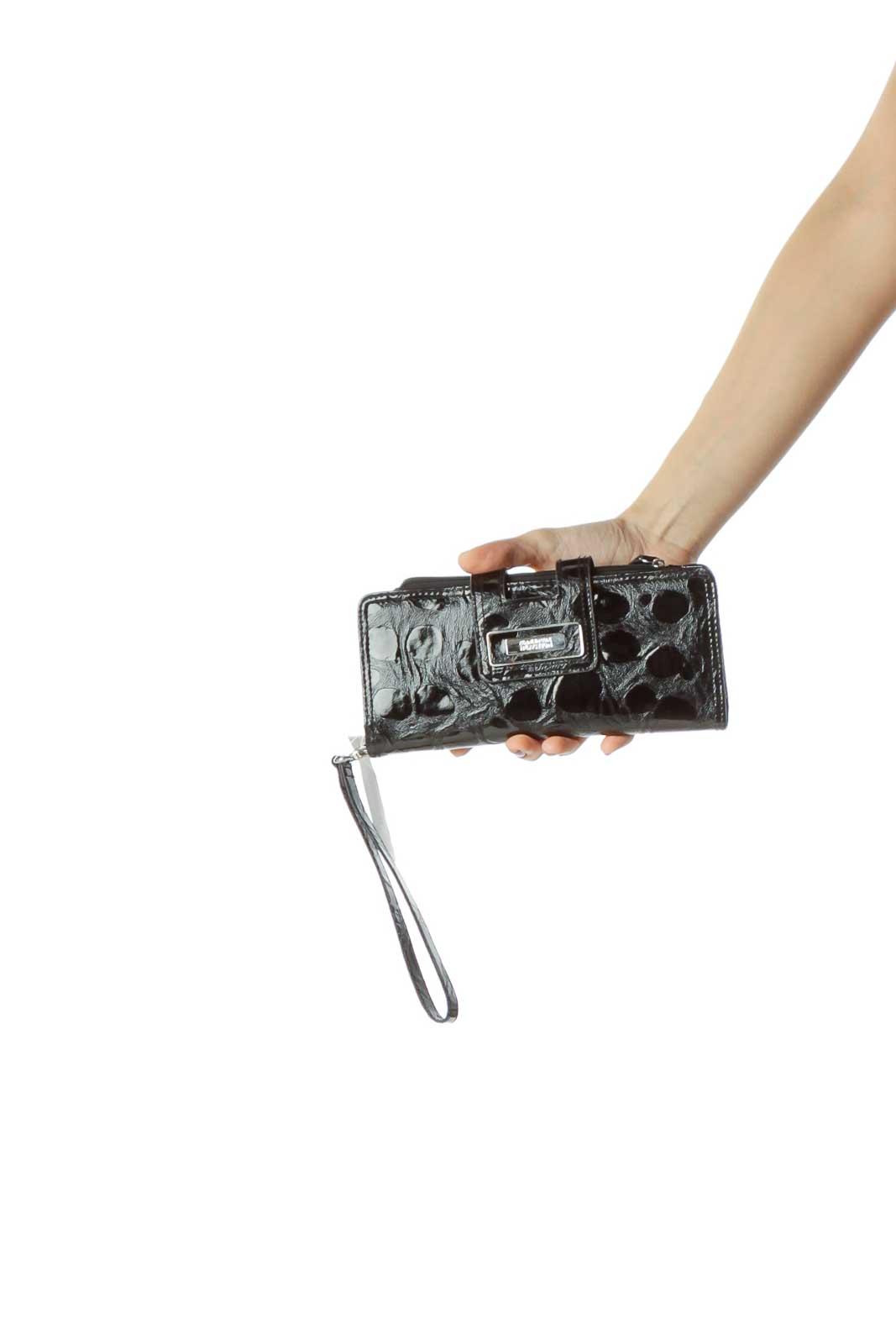 Black Patent Textured Wristlet