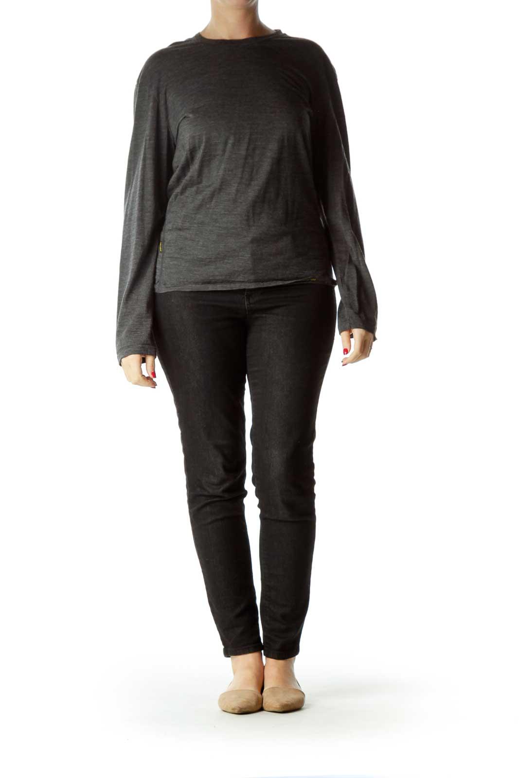 Gray Merino Wool Long-Sleeve T-Shirt
