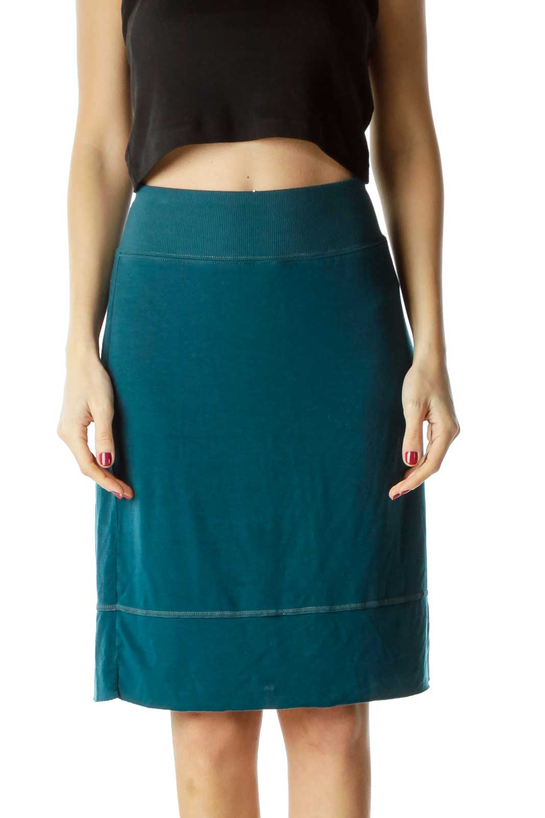 Blue Stretchy Pencil Skirt