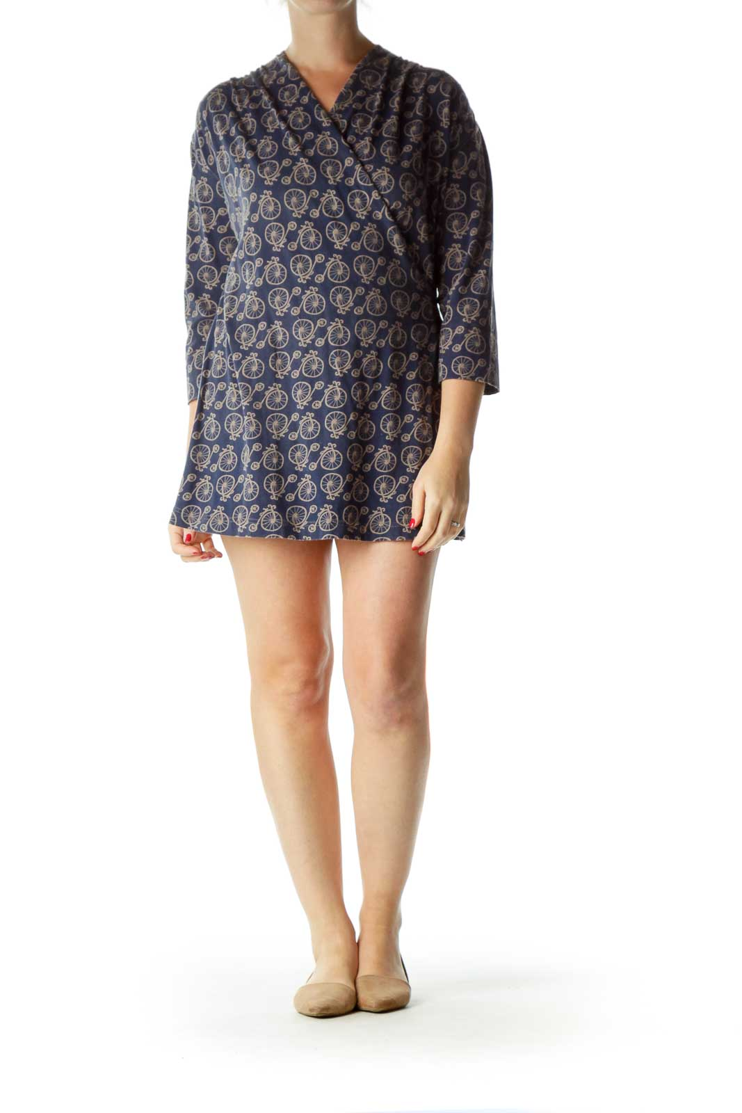 Blue Bicycle Print Wrap Dress