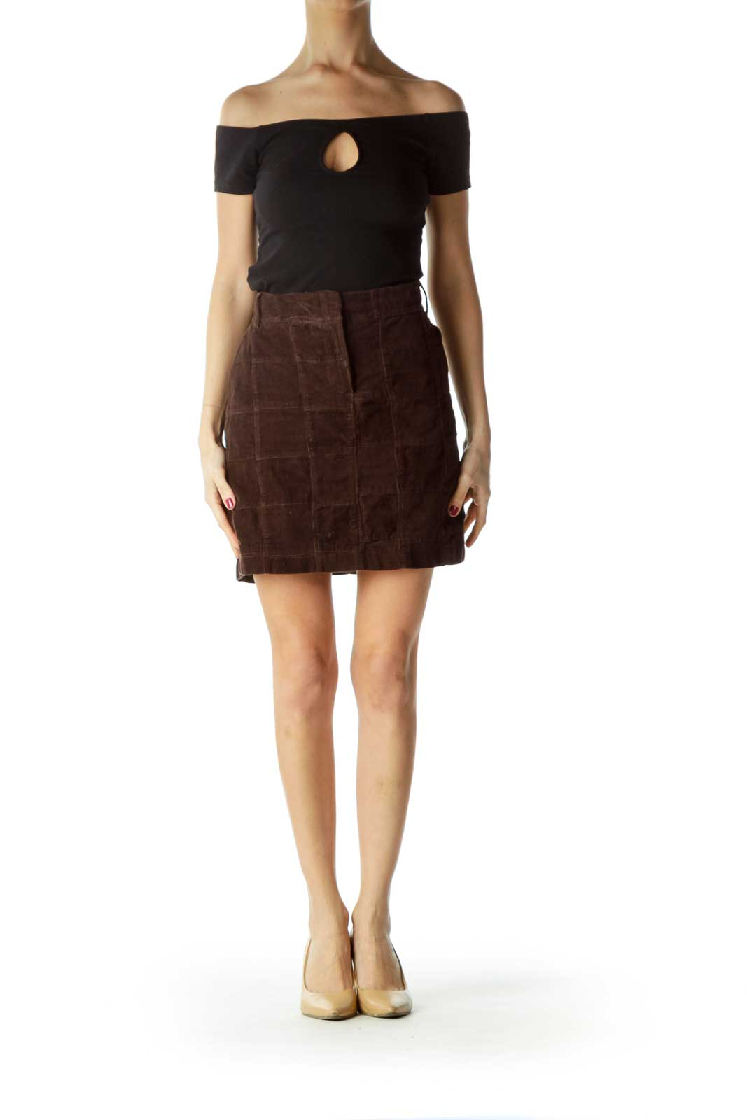 Brown  100% Cotton Corduroy Checkered Skirt