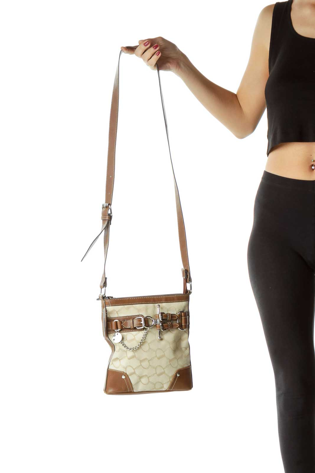 Beige Monogrammed Leather Trim Crossbody Bag