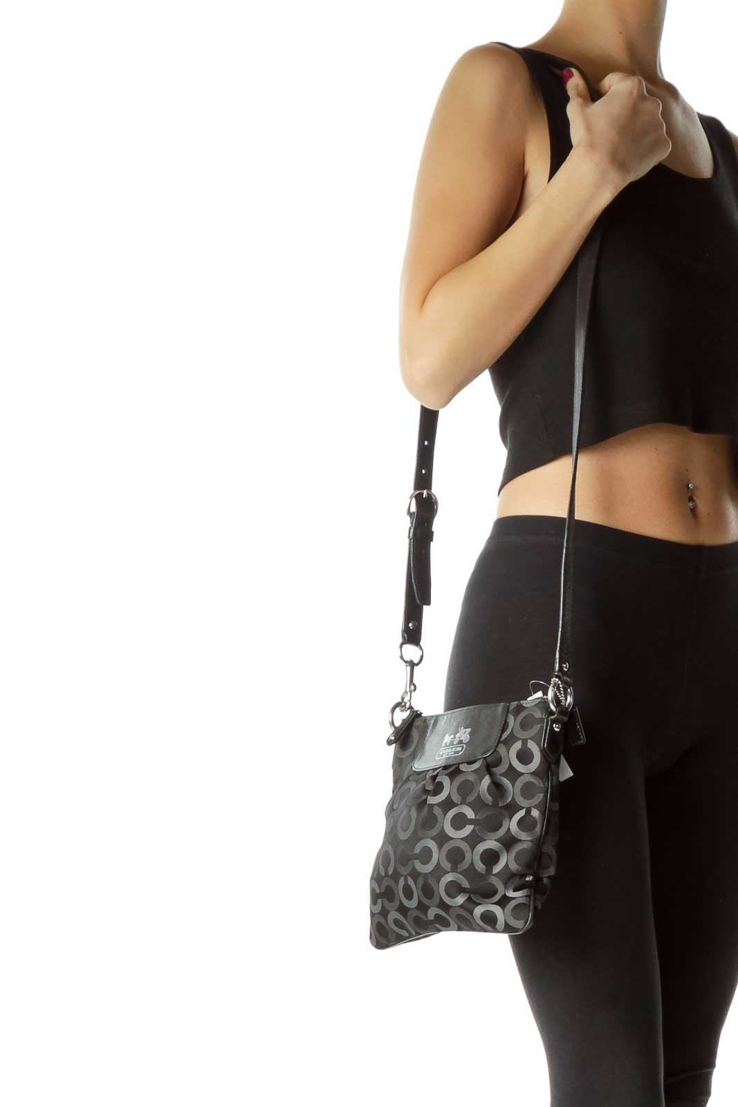 cc5e6d5f Shop Black Circle Print Crossbody Bag clothing and handbags at ...