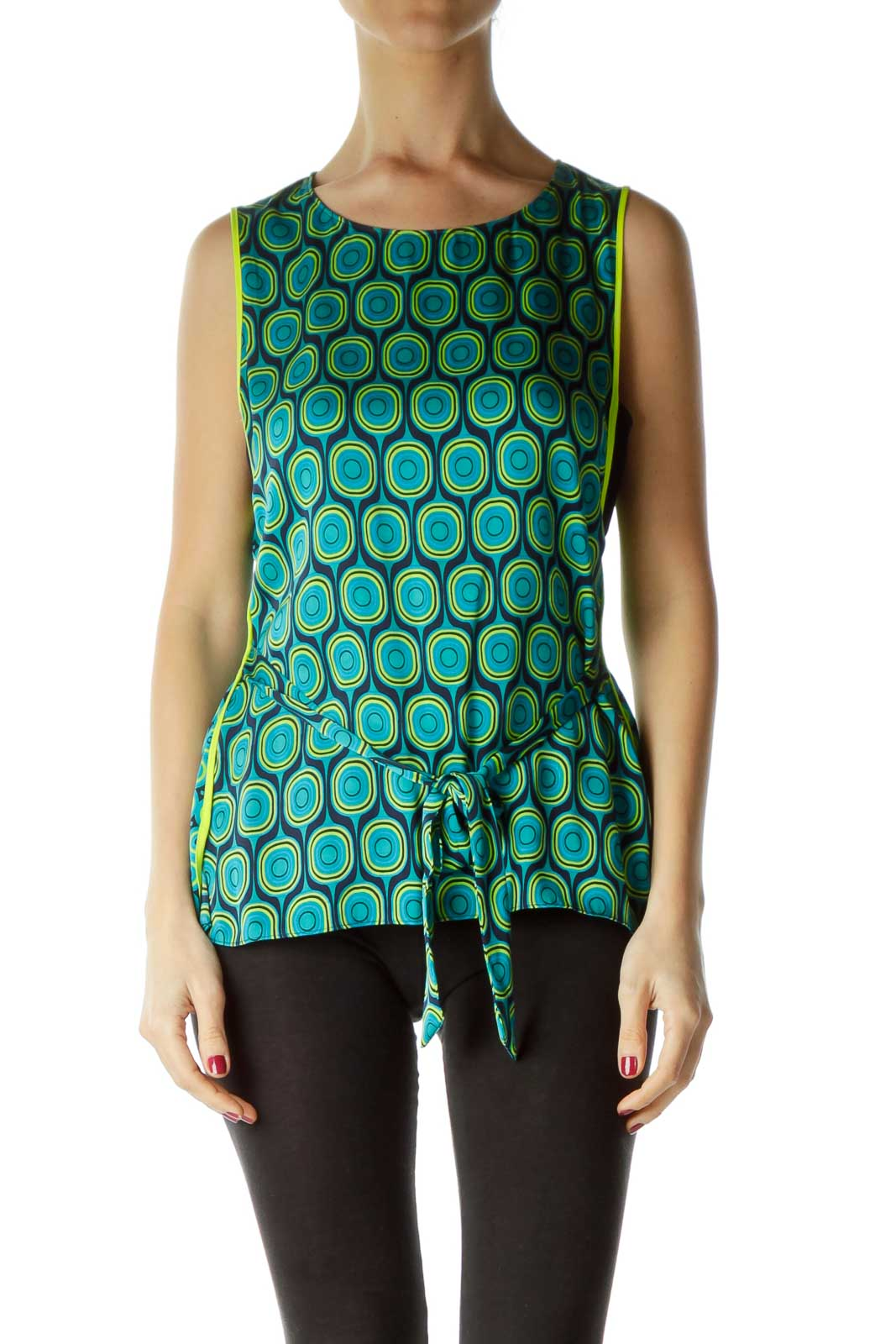 Green Yellow Circle Print Silk Blouse