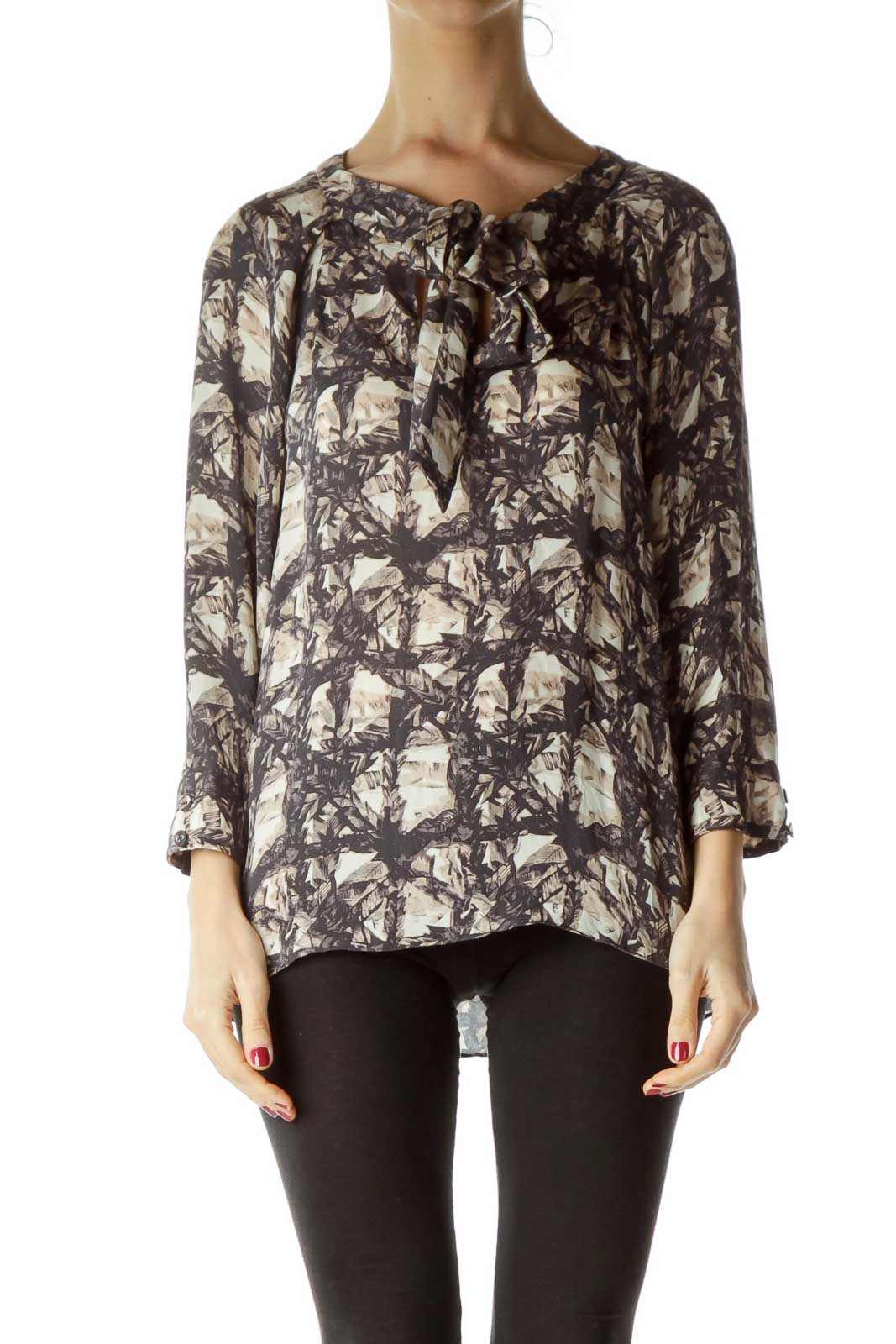 Gray Beige Print Bow Detail Silk Blouse