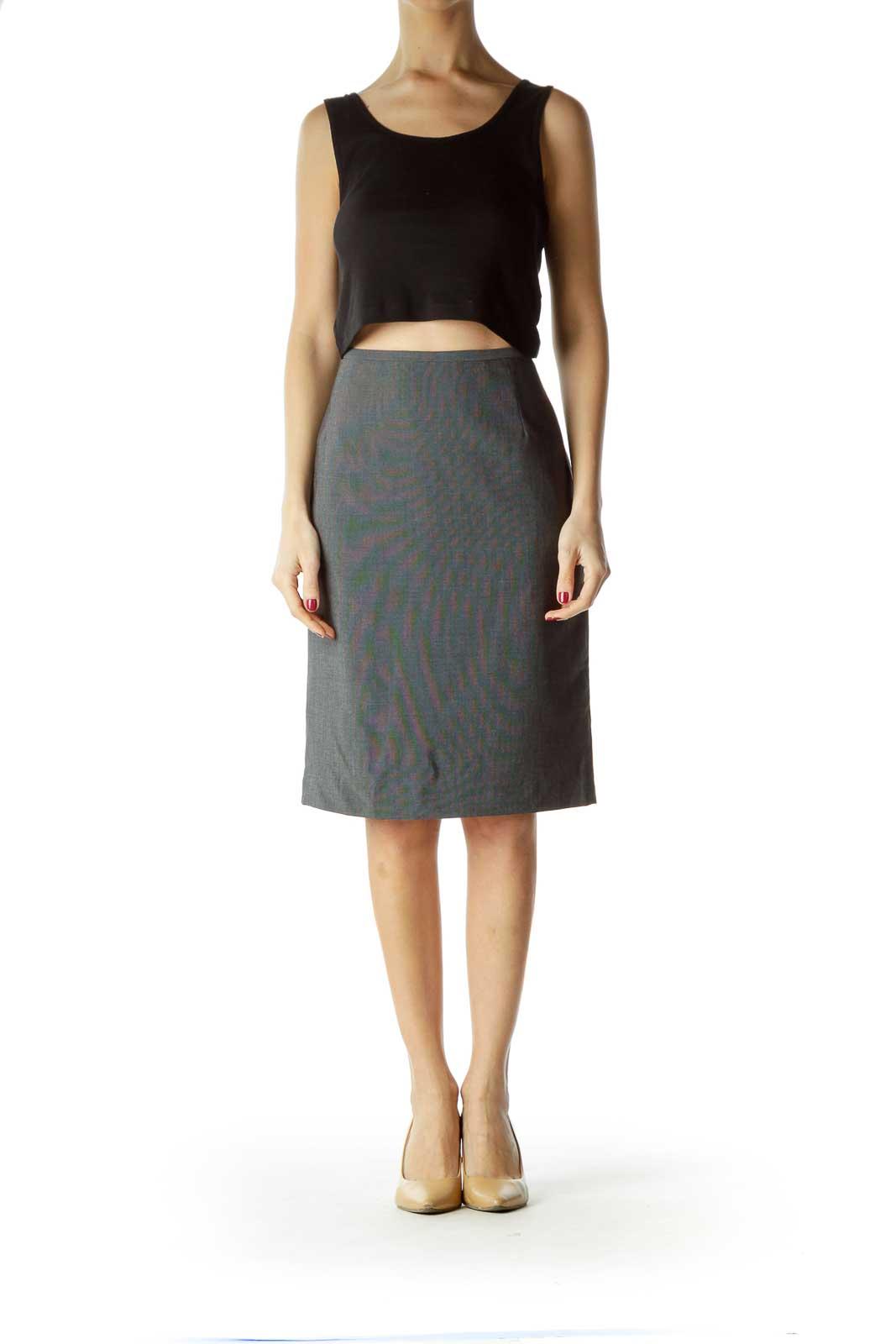 Black White Cinched Waist Pencil Skirt