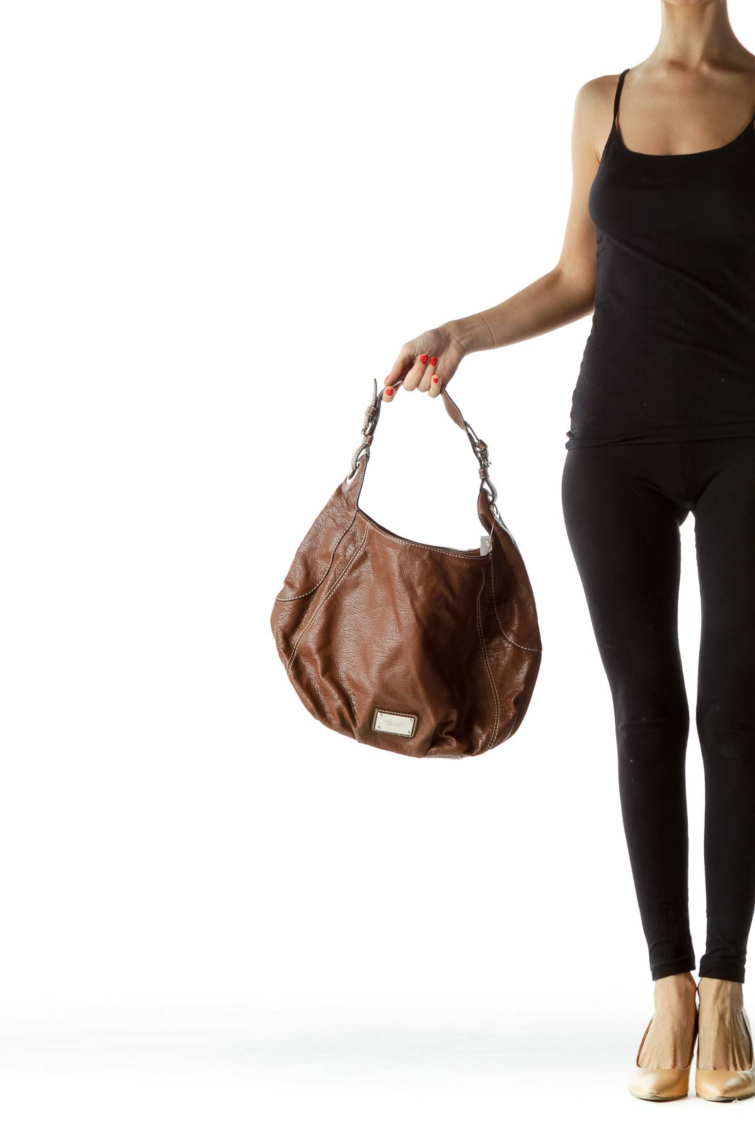 Brown White Stitch Shoulder Bag with Buckles
