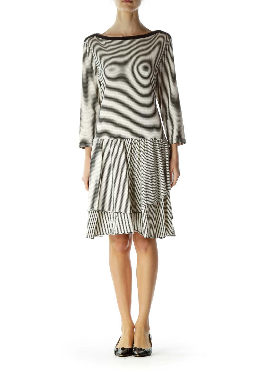 Beige Striped Jersey Dress
