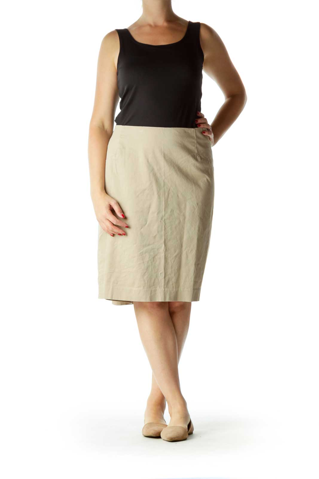 Beige Pencil Skirt