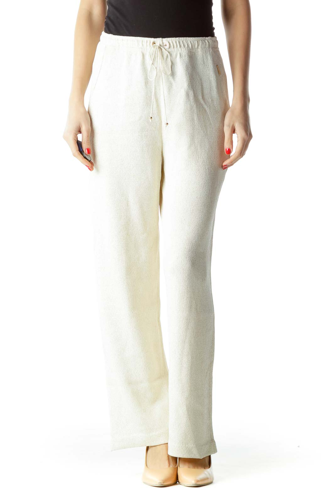 Cream Gold Metallic Drawstring Sports Pants
