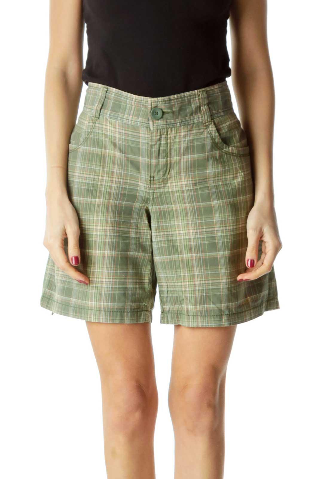 Green Plaid Pocketed Shorts