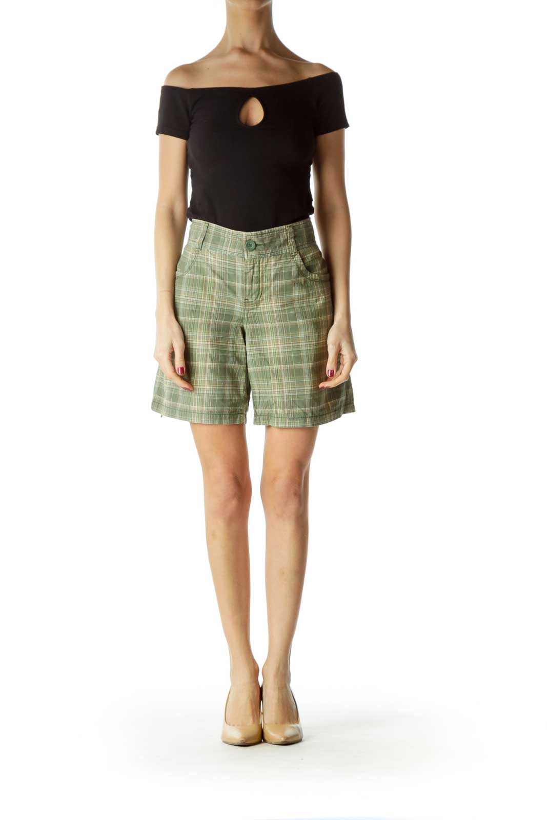 Green Plaid Pocketed Shorts