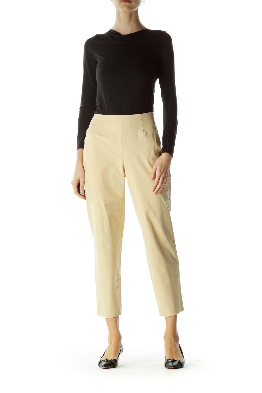 Beige Cropped Designer Pants