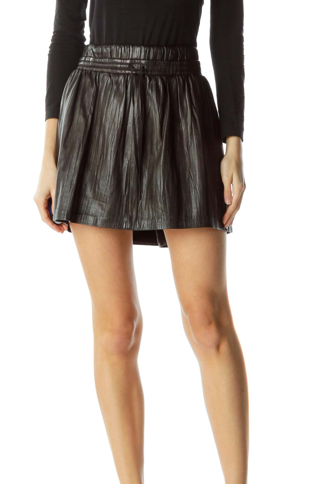 Brown Leather Drawstring Mini Skirt