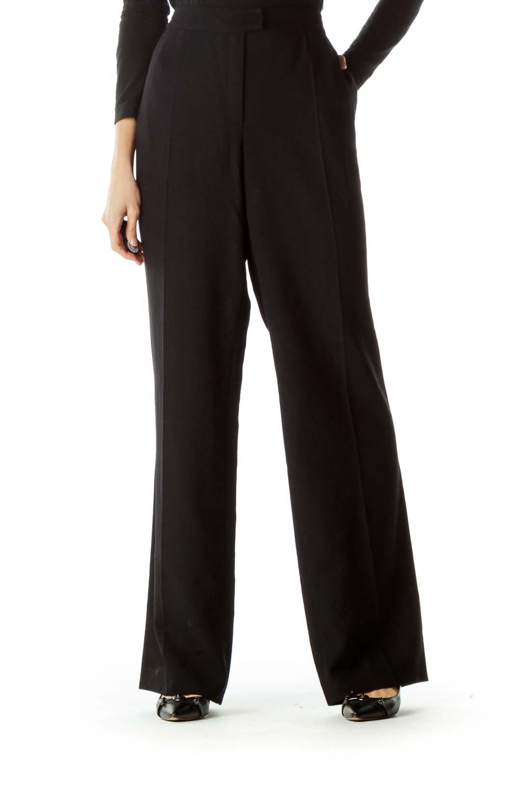 Black 100% Virgin Wool Dress Pants