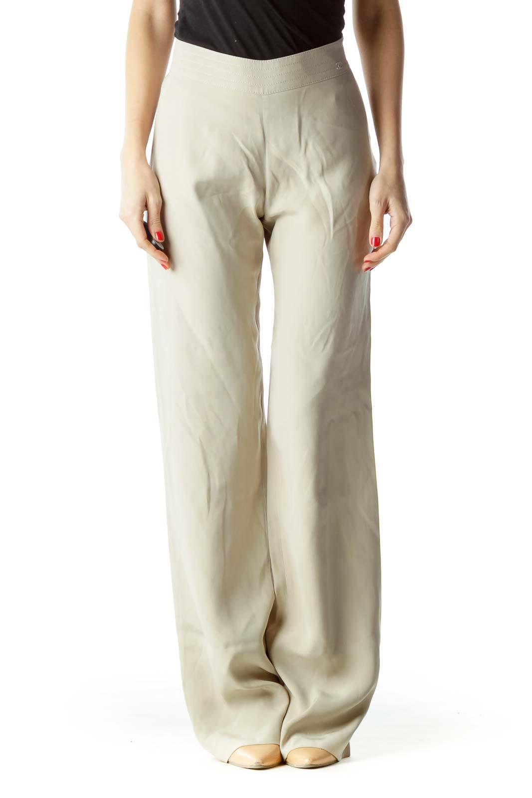 Gray 100% Silk Designer High-Waisted Pants (Altered)