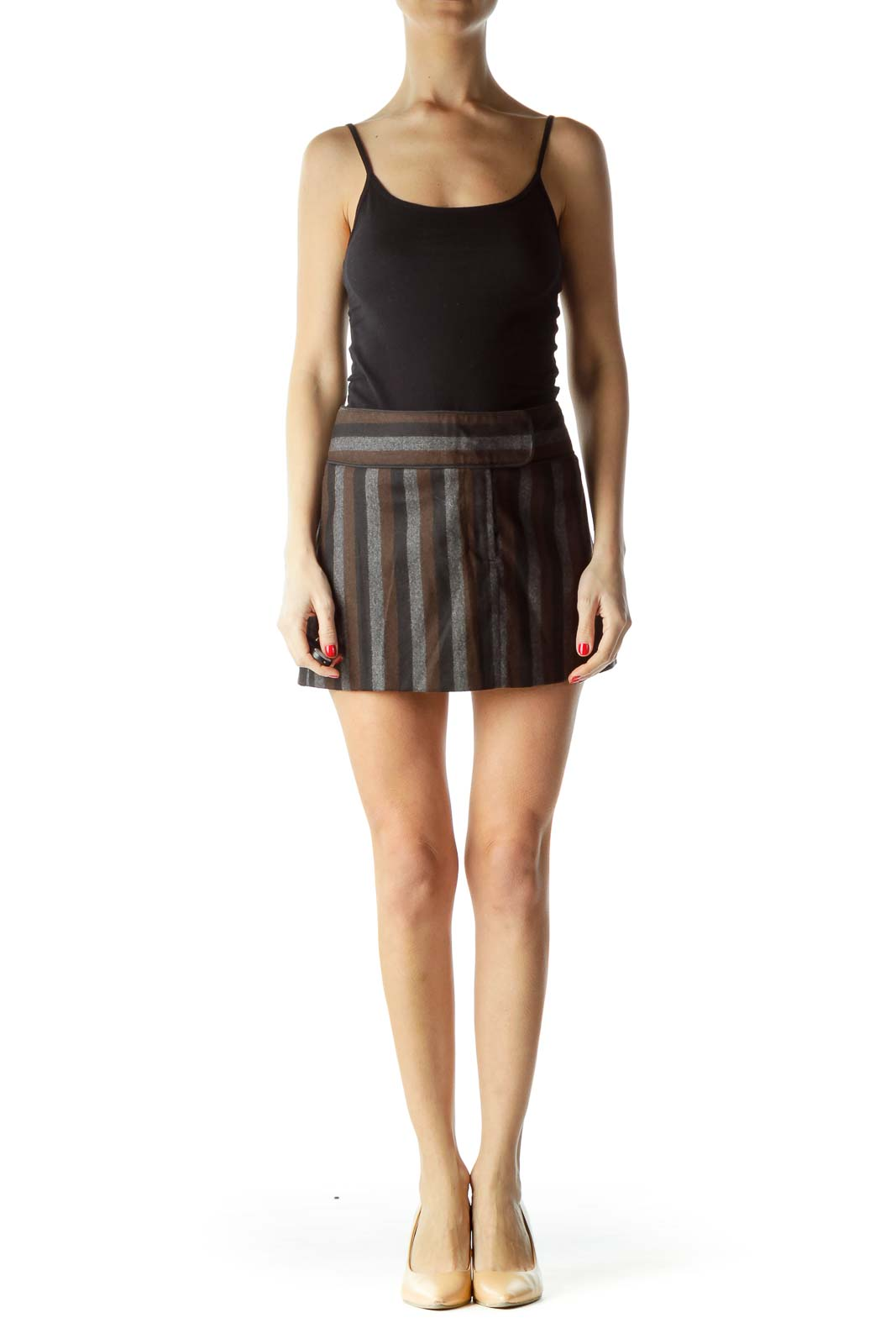 Black Brown Gray Striped Mini Skirt