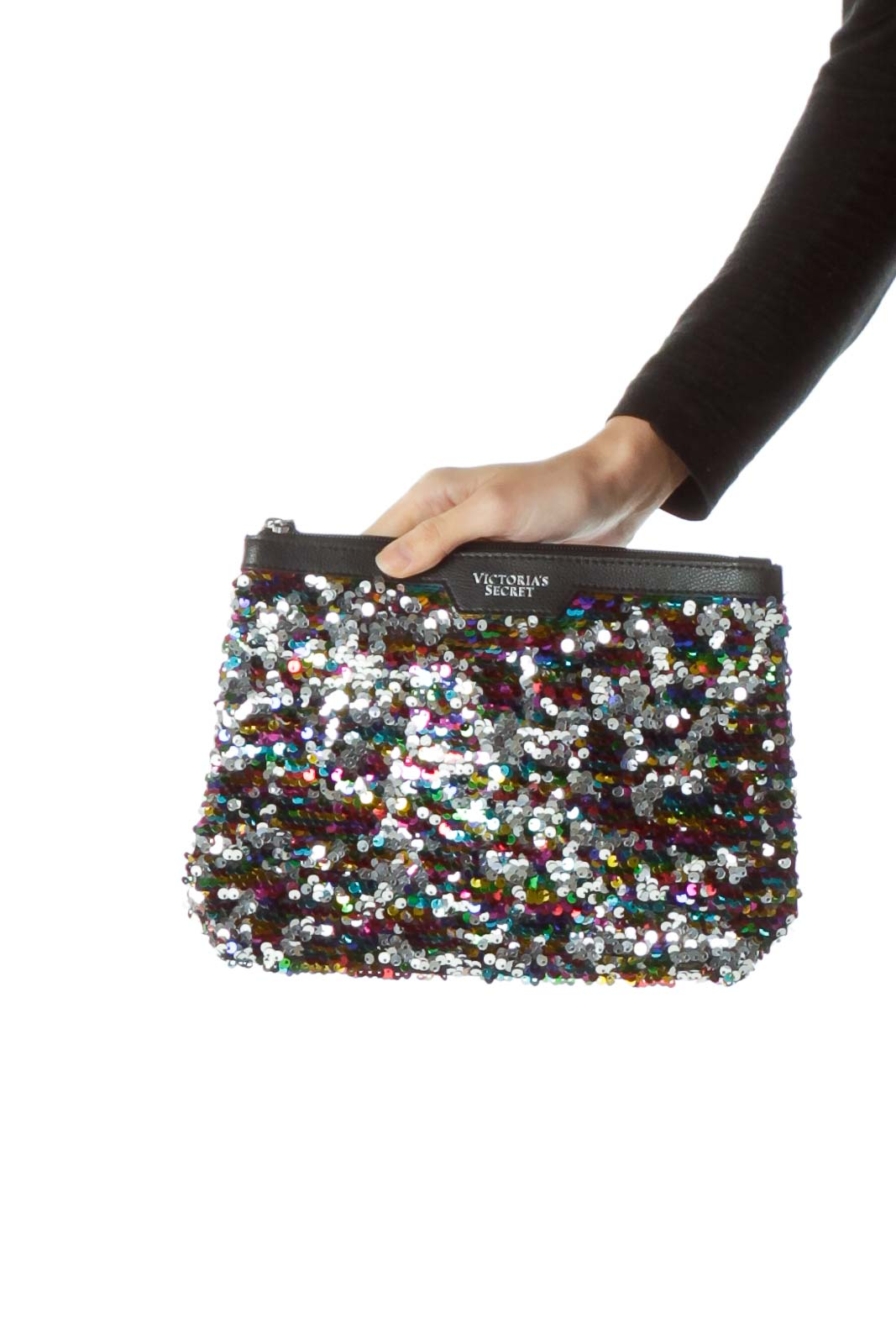 Multicolored Sequined Clutch with Tassle