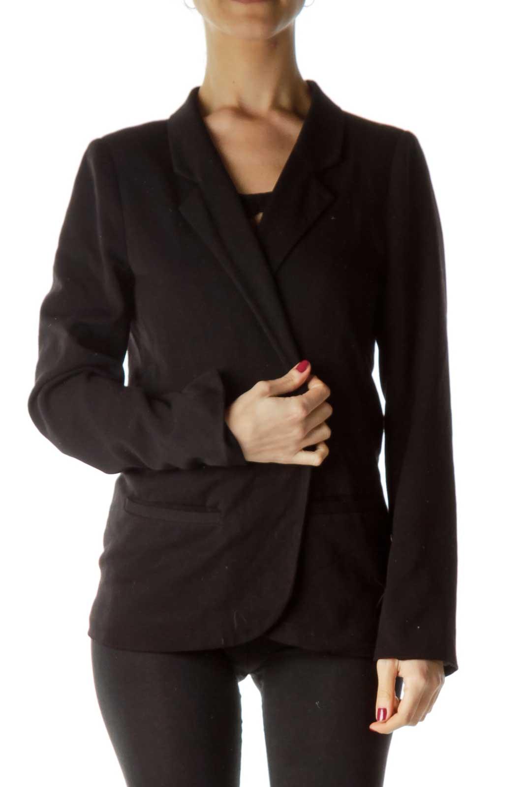 Black Pocketed Open Blazer