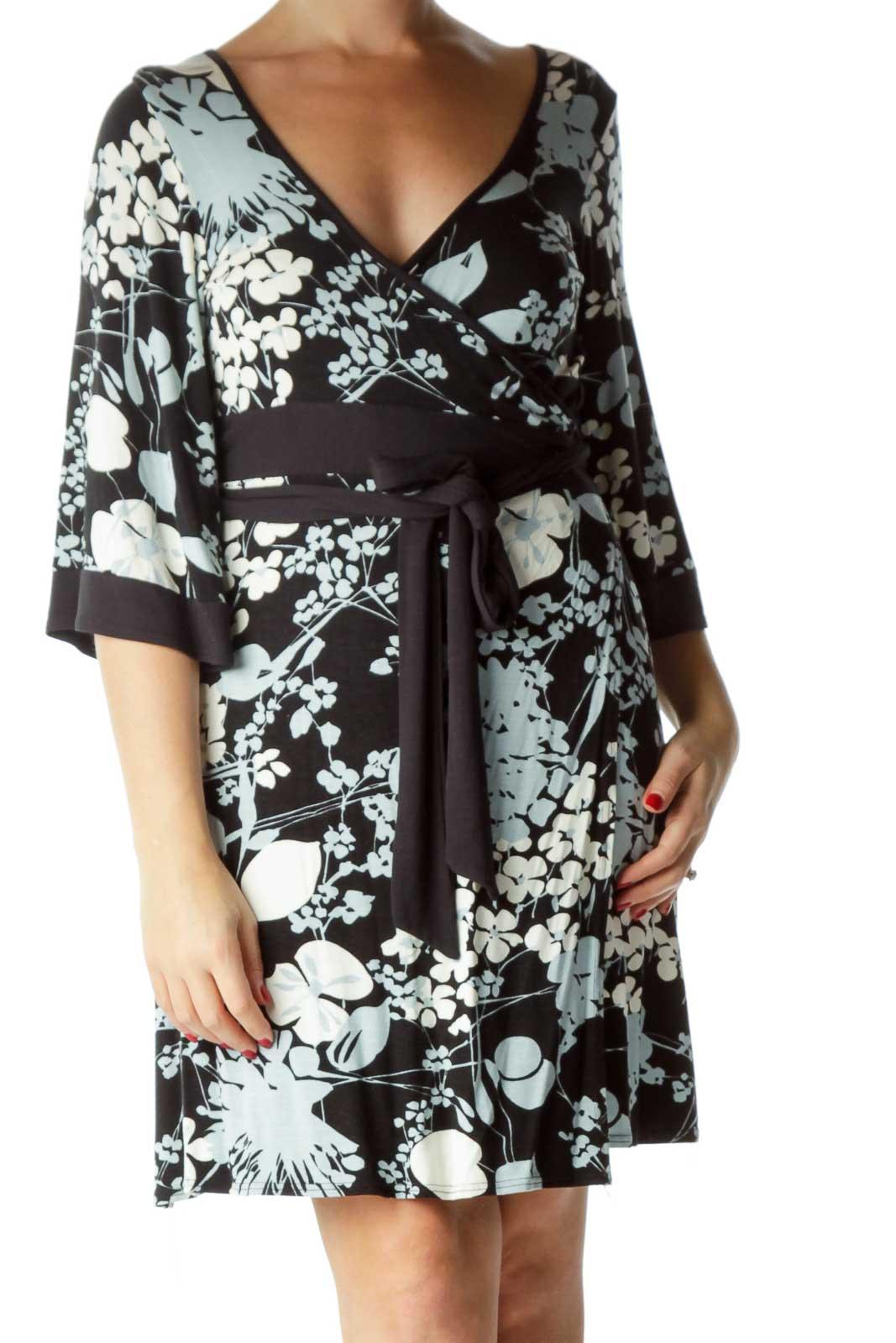 Black Blue Floral Bell Sleeve Wrap Dress