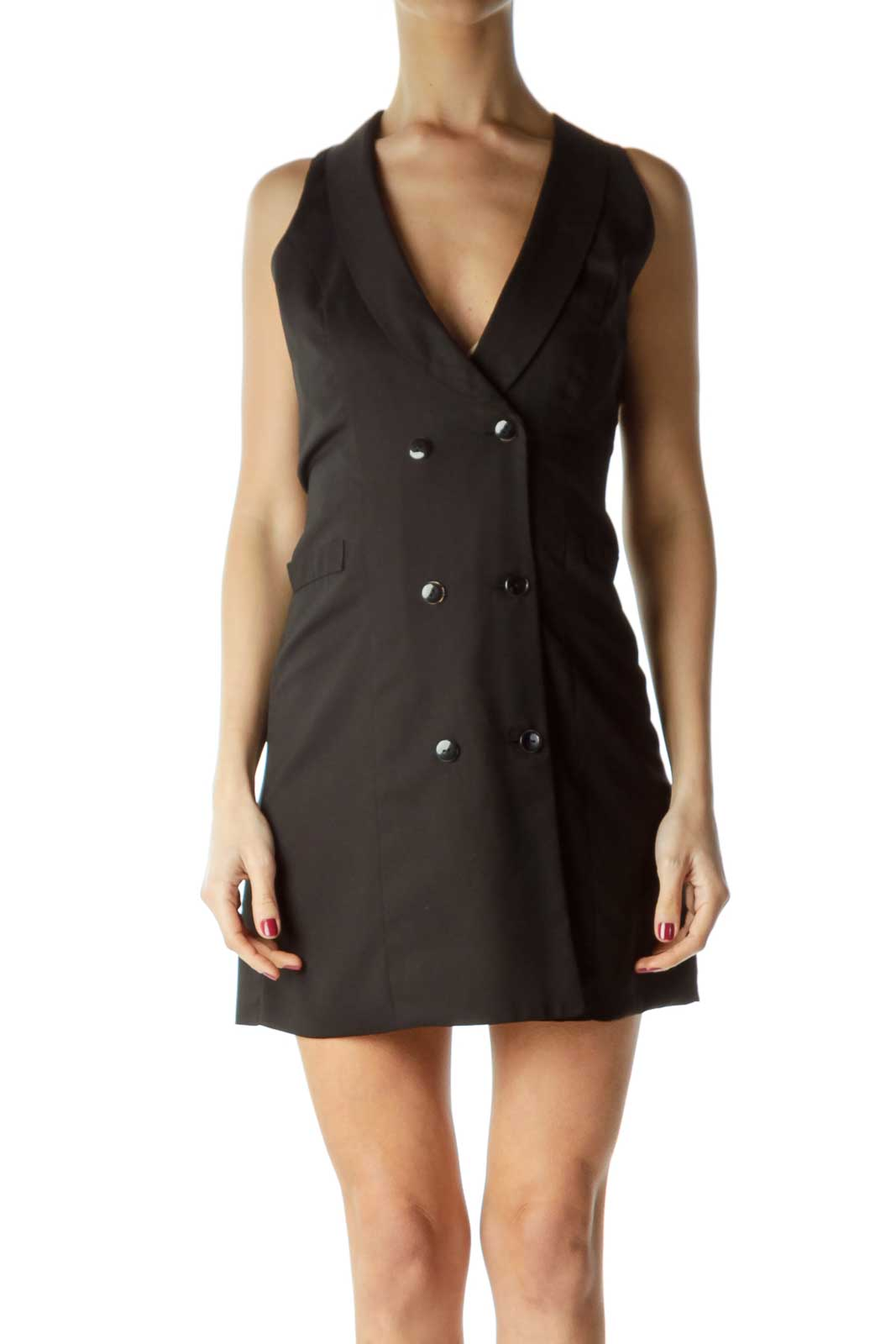 Black Double Breasted Cut-Out-Back Vest Dress