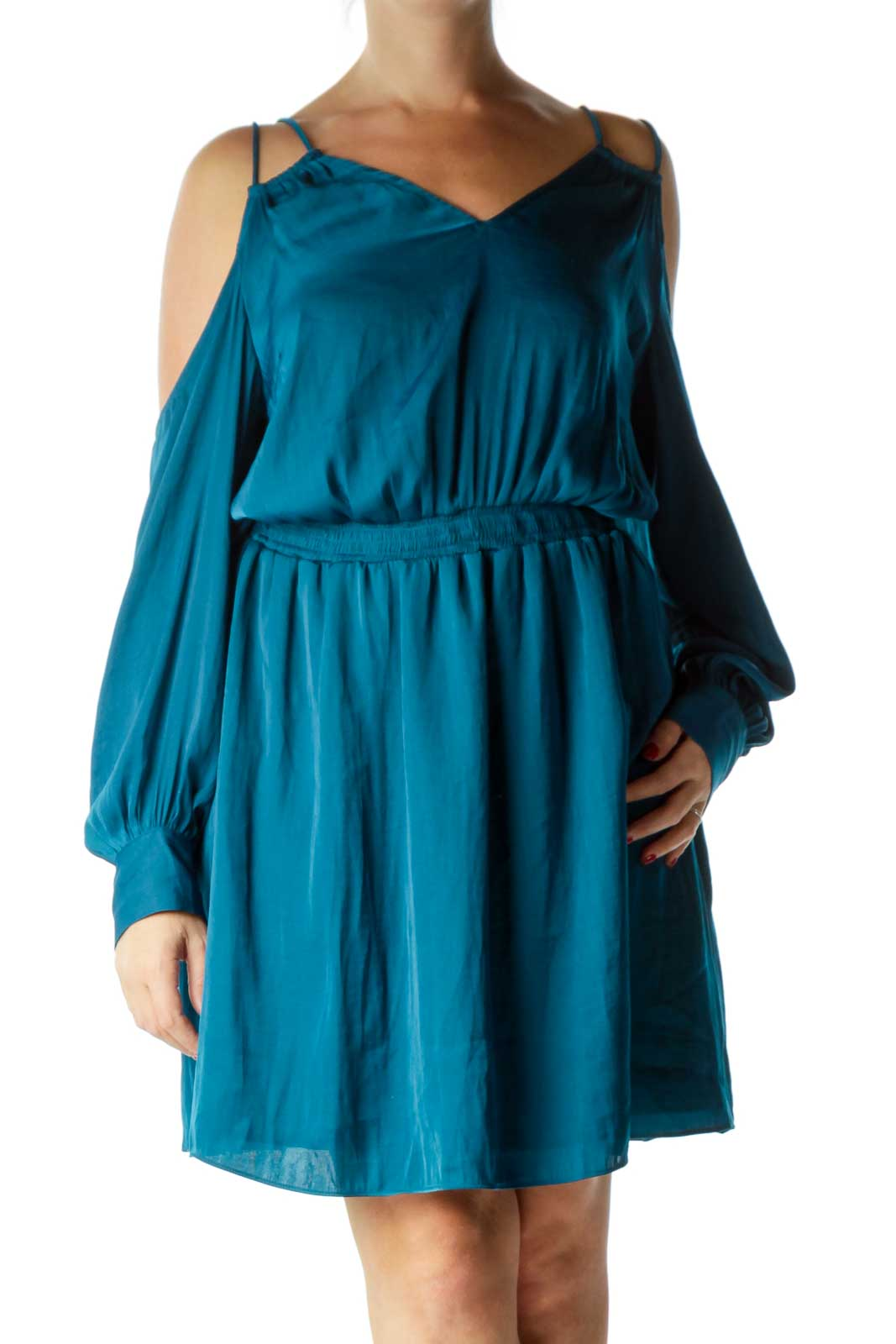 Turquoise Cold Shoulder Cocktail Dress