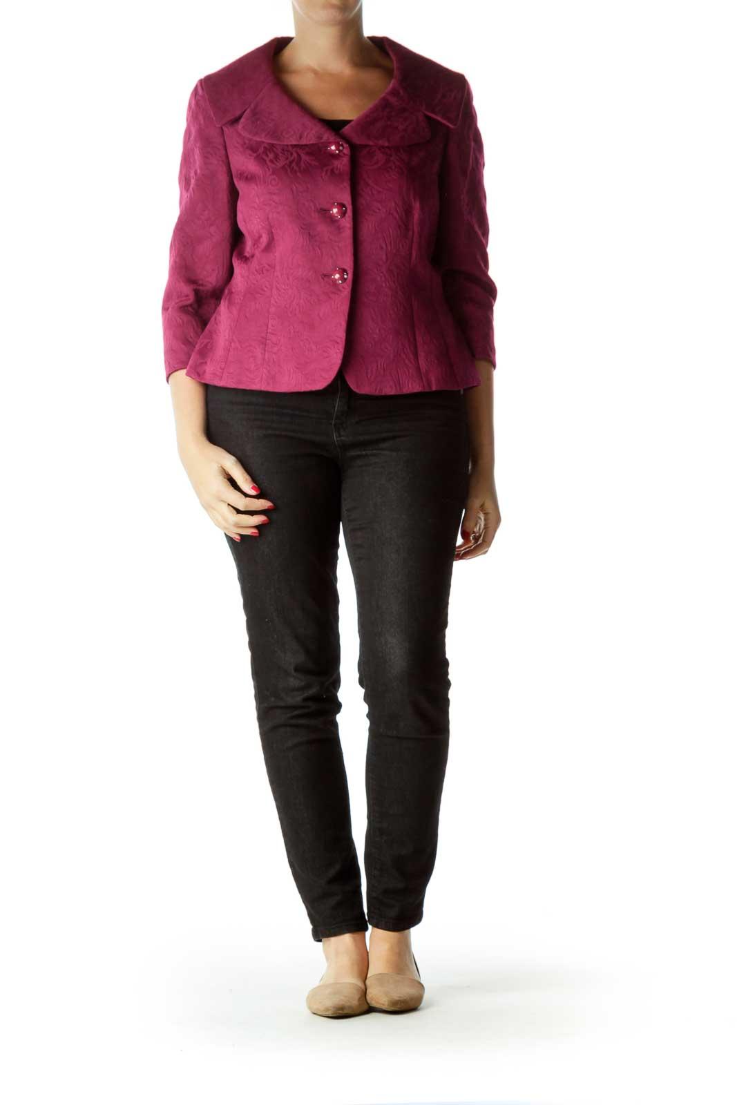 Purple 3/4 Sleeve Buttoned Blazer