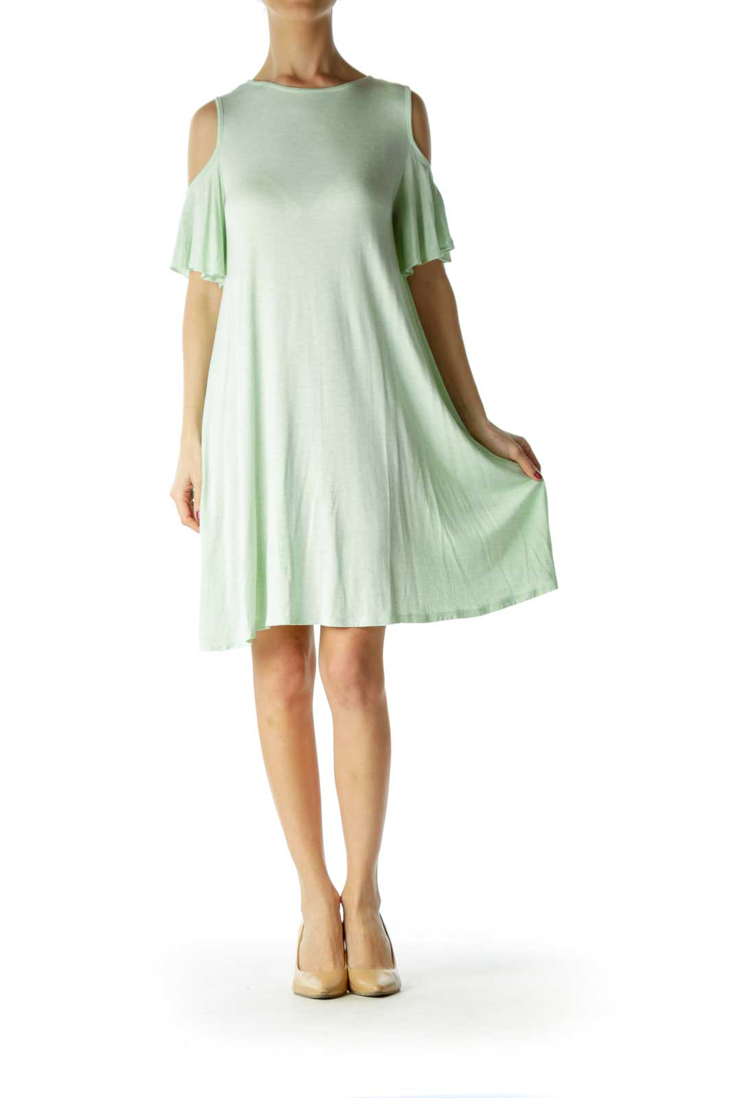 Green Cold Shoulder Tent Dress
