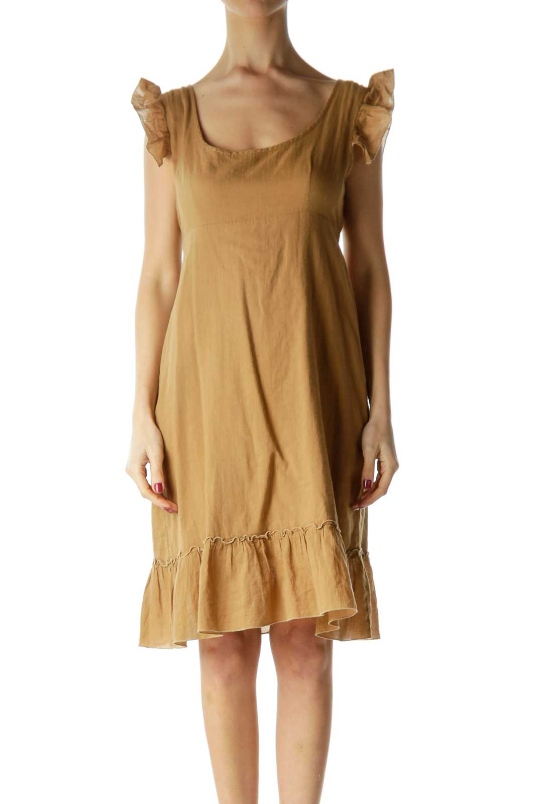 Brown Ruffled Cap Sleeve Day Dress