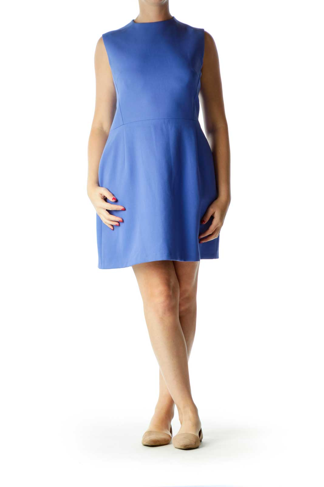 Blue Round Neck Sleeveless Work Dress