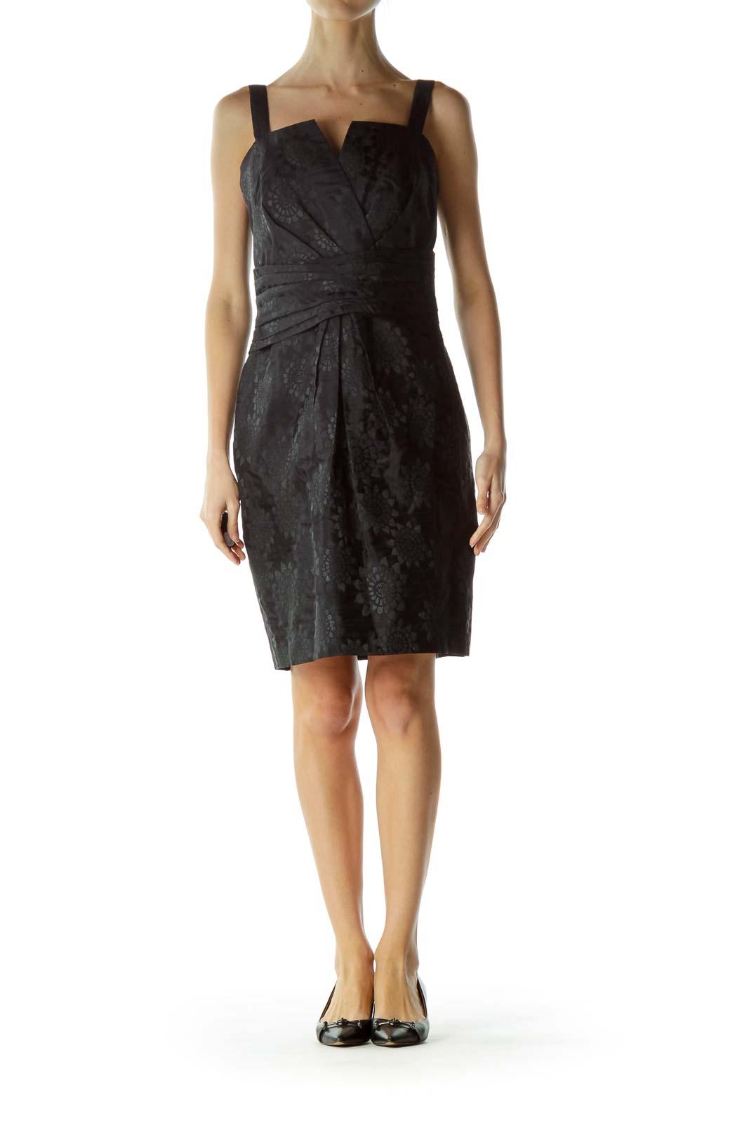 Black Jacquard Embossed Cocktail Dress