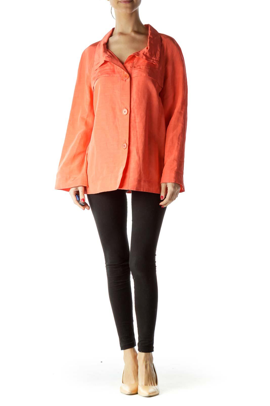 Orange Buttoned High Neck Blazer
