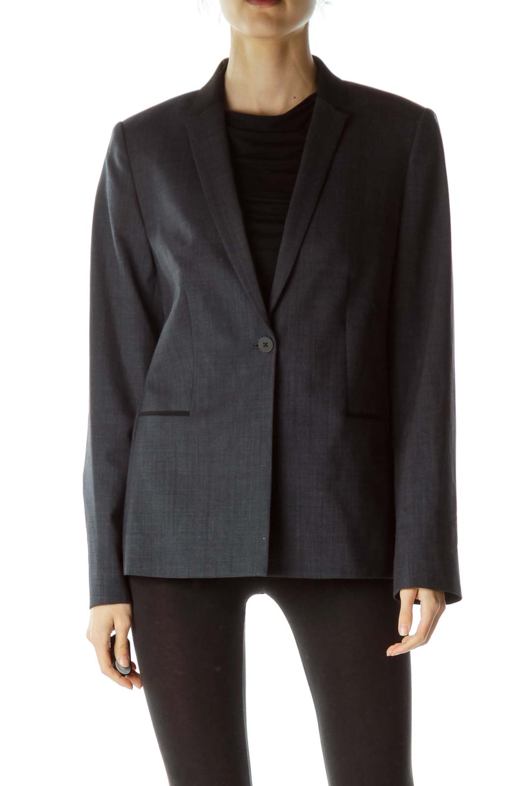 Blue Black Accent Neck Designer Blazer