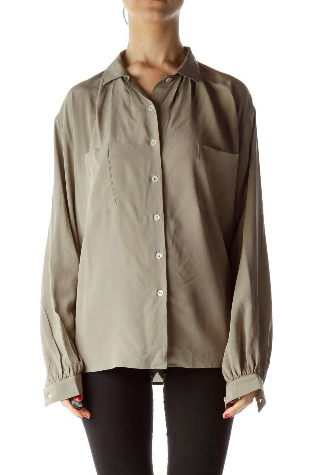 Gray 100% Silk Buttoned Shirt with Pockets