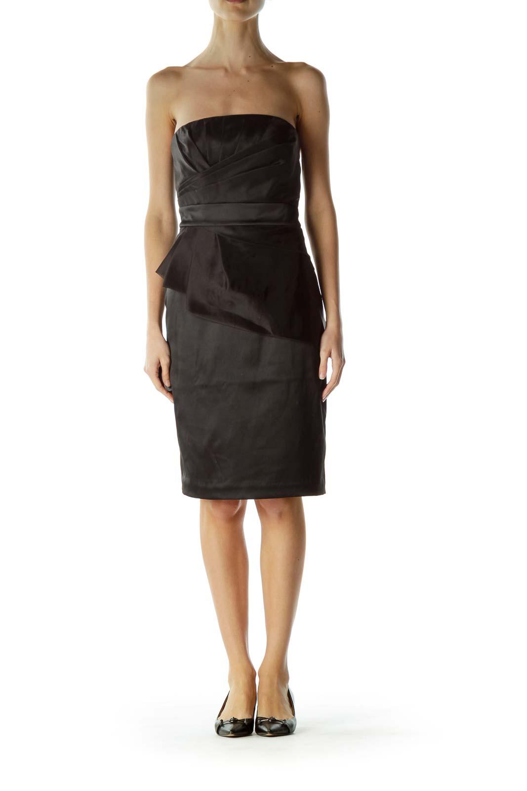 Black Strapless Shiny Cocktail Dress