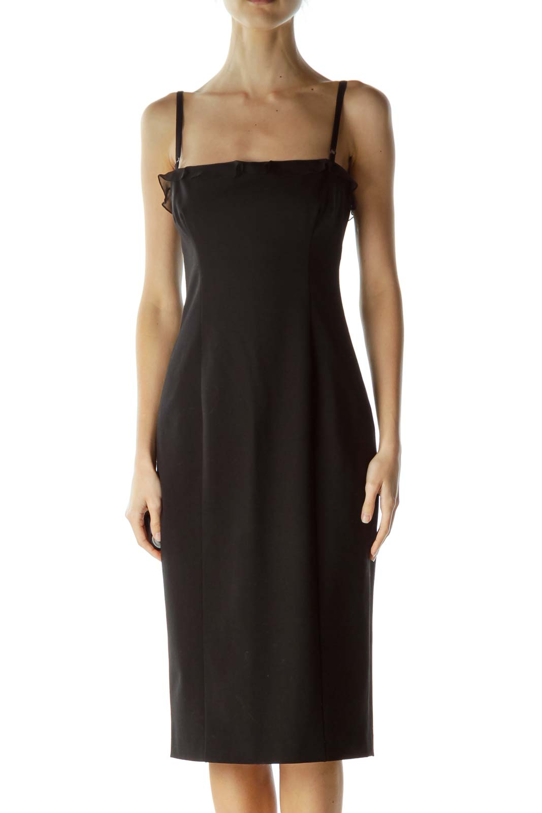 Black Spaghetti Strap Midi Cocktail Dress