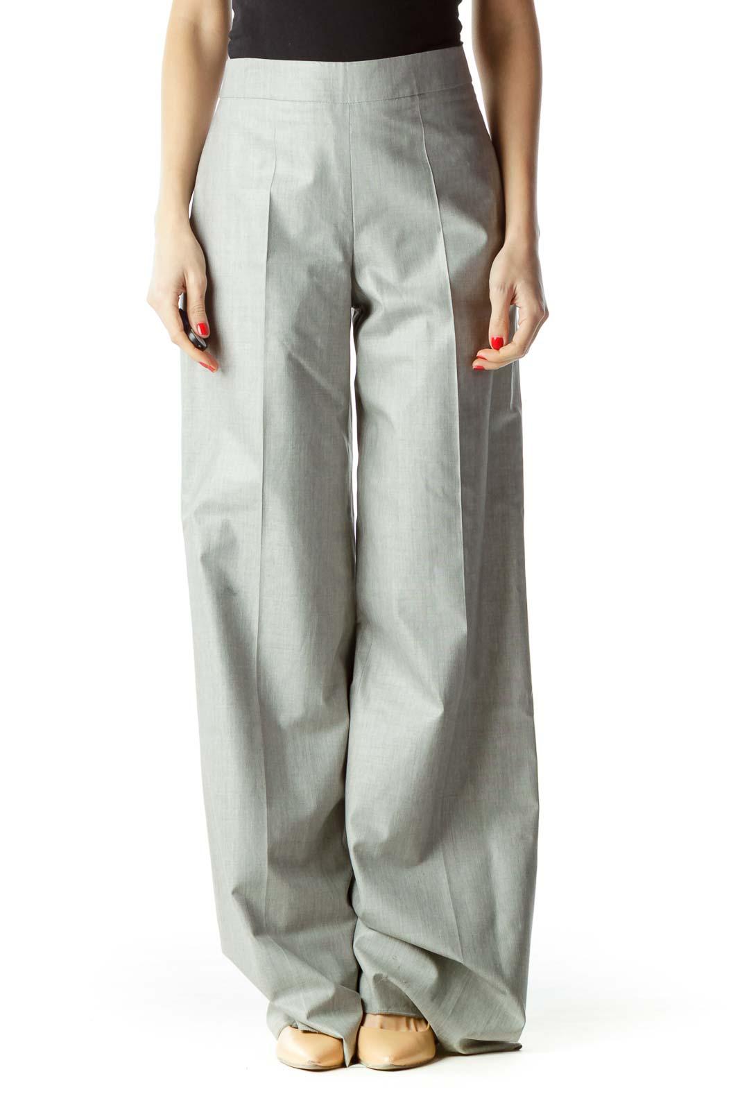 Gray High-Waisted Designer Dress Pants
