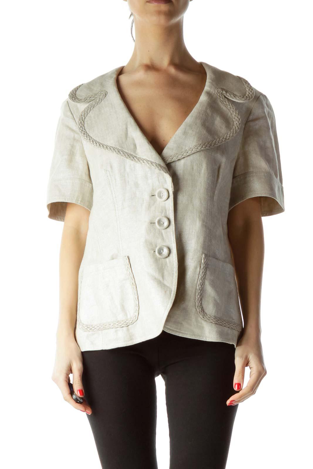 Cream Metallic 100% Linen Short Sleeve Blazer