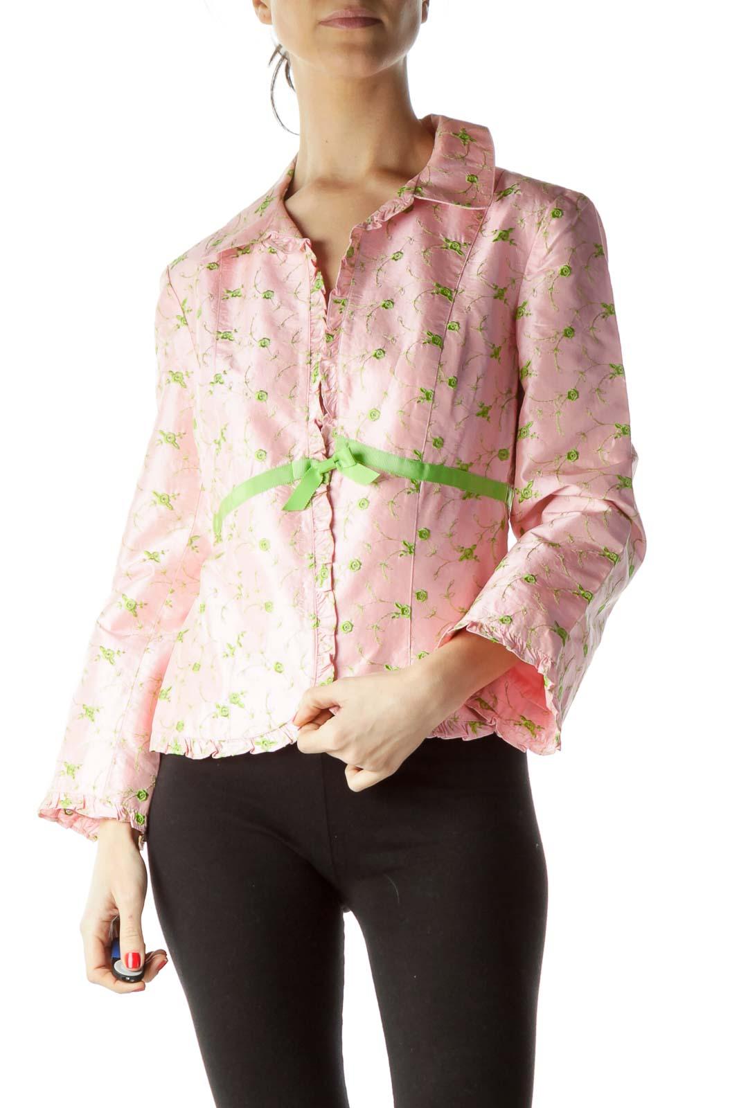 Pink Green Flower Knit Ruffle Detail Blazer