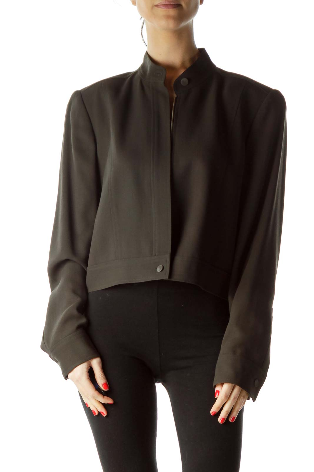 Brown 100% Wool Zippered Blazer