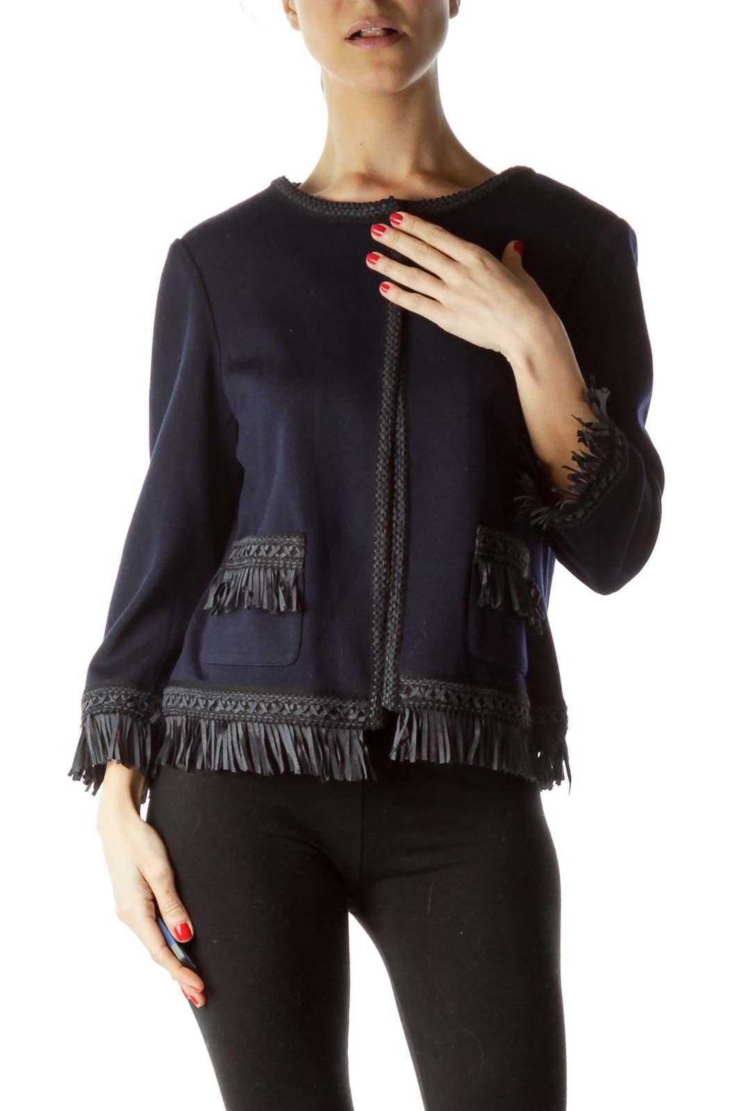 Blue Black Fringe Pocketed Knit Blazer