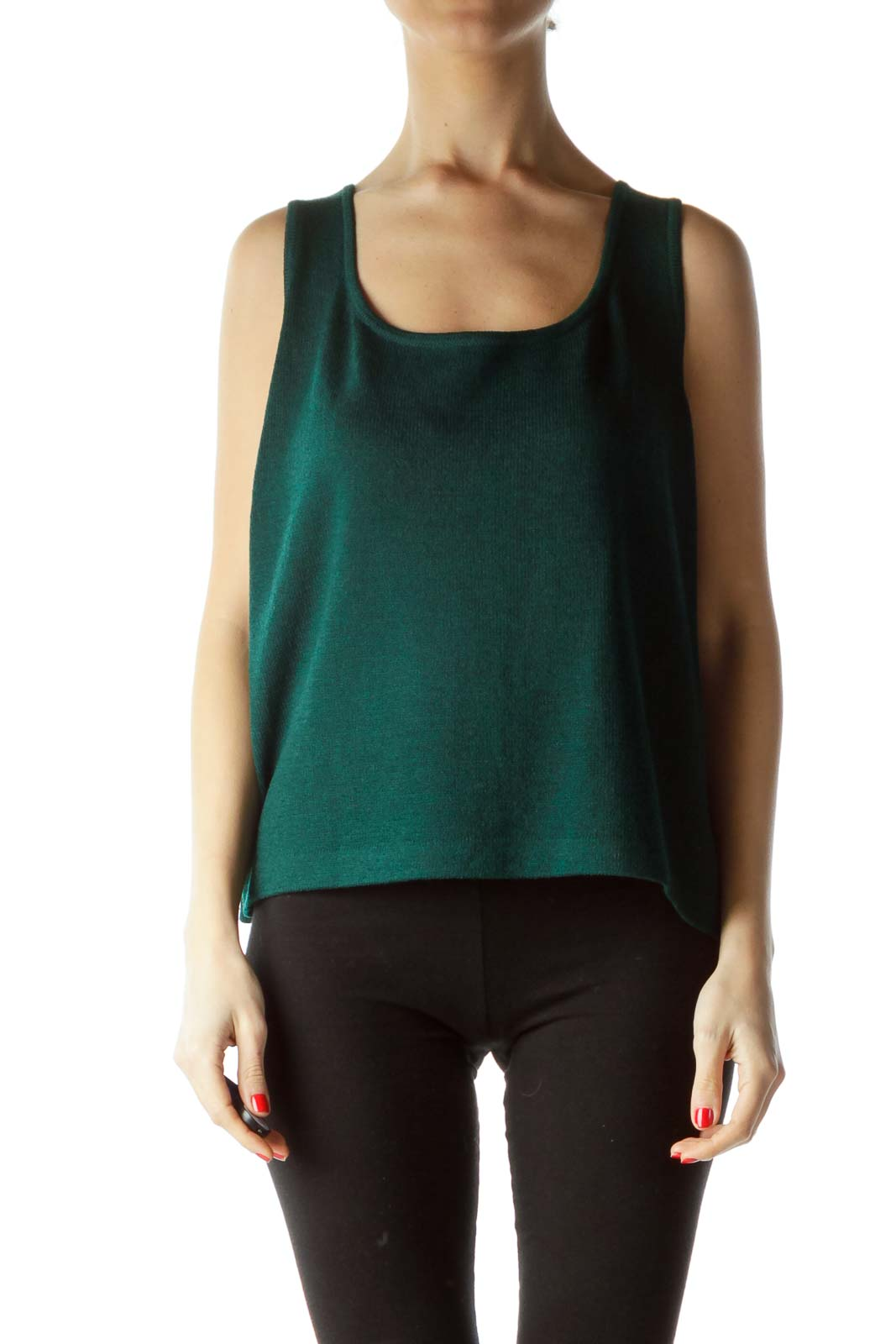 Green Sleeveless Knit Top