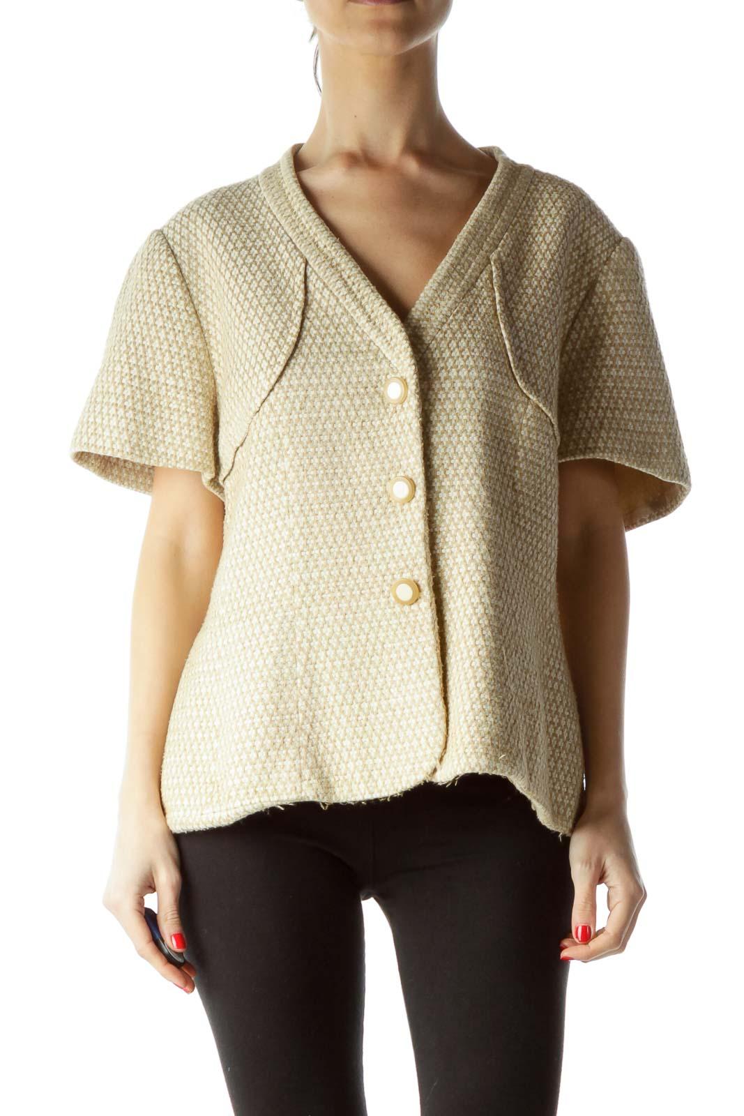 Beige Cream Short Sleeve Knit Blazer